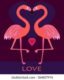 Couple pink flamingos in love. Two birds with heart in kiss. Cute valentine's day card. Funny and colorful background in vector