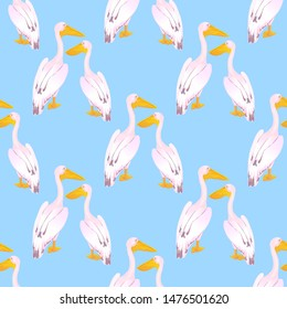 A couple of pink pelicans. Waterfowl. A large gregarious waterbird with a long bill. Seamless pattern for fabric, for wallpaper, for surface design.