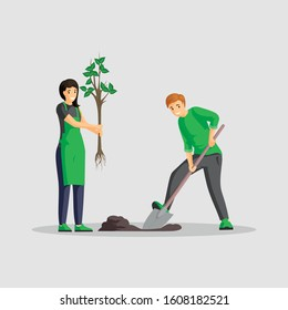 Couple planting tree flat color illustration. People gardening isolated cartoon characters, volunteers working outdoors together, greening planet. Man digging and woman holding sapling