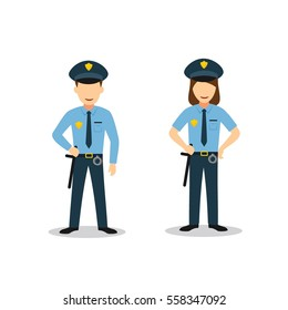 Couple of Police Character Design Vector. Flat Style Design