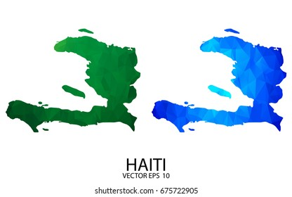 Couple Polygon Set Map - High Detailed Green and Blue LowPoly Map of Haiti. Vector illustration eps 10.
