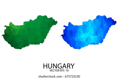 Couple Polygon Set Map - High Detailed Green and Blue LowPoly Map of Hungary. Vector illustration eps 10.