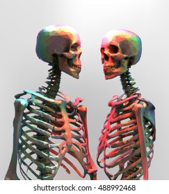 A couple of polygonal skeleton in rainbow color with wireframe edge on bright background