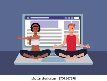 couple practicing online yoga for quarantine vector illustration design