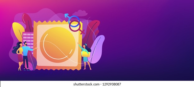 Couple prevent sexually transmitted infections with condom. Sexually transmitted diseases, safer sexual behavior, sexual infection treatment concept. Header or footer banner template with copy space.