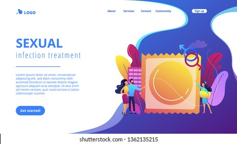 Couple prevent sexually transmitted infections with condom. Sexually transmitted diseases, safer sexual behavior, sexual infection treatment concept. Website vibrant violet landing web page template.
