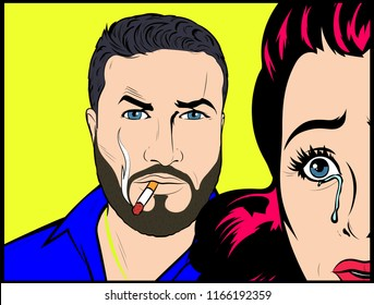 Couple in problems, agresive smoking man attacking and threatening wife or girl crying, scared and terrified. Social issues, abuse violence and aggression - Vector Illustration In Retro Pop Art Comic
