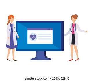 couple of professionals doctors with desktop