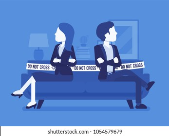 Couple quarrel home scene. Dispute between lovers, man,woman sitting against each other on sofa with do not cross tape, disagreement, break in relations. Vector illustration with faceless characters