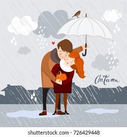 Couple in the rain, autumn vector illustration