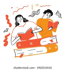 Couple reading a favorite book, Vector Illustration doodle style on white background
