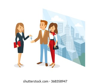 Couple and real estate agent make an agreement