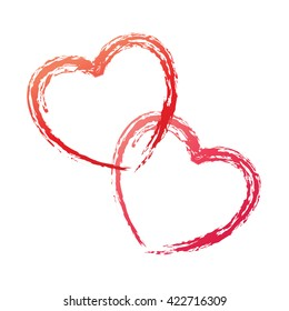 Couple of red outlined vector hearts on white background. Doodle sketch for the Valentine day, wedding and romantic love drawings.