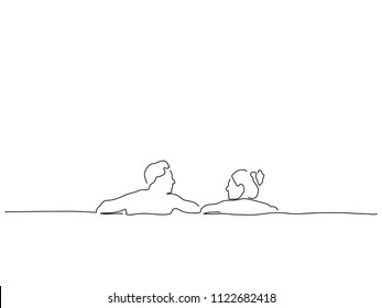 Couple relaxing in the pool  line drawing, vector illustration design. Holidays collection.
