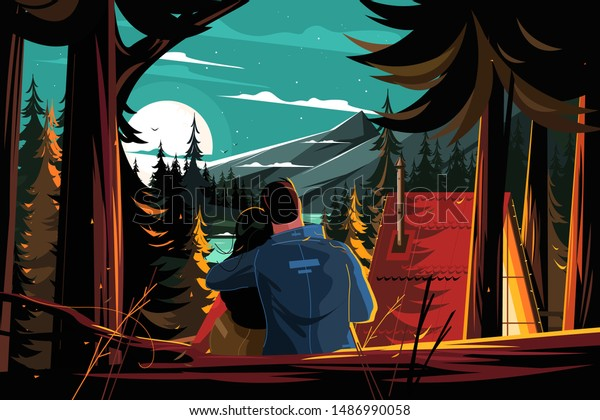 Couple resting in pine forest vector illustration. People in love sit hugging and looking at moon and stars flat style concept. Man and woman enjoying romantic picturesque landscape together