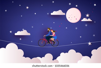 Happy Couple Riding Bicycle Stock Vectors Images Vector