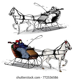Couple riding a horse in a sleigh in winter, cartoon on white background, vector