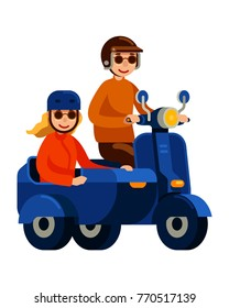 couple riding scooter with sidecar in flat style vector illustration
