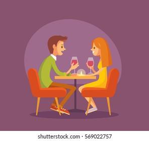 A couple. Romantic dinner