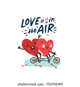 Couple romantic love story. Two happy hearts biking. Hand drawn lettering Love is in the Air. Valentine's Day vector card