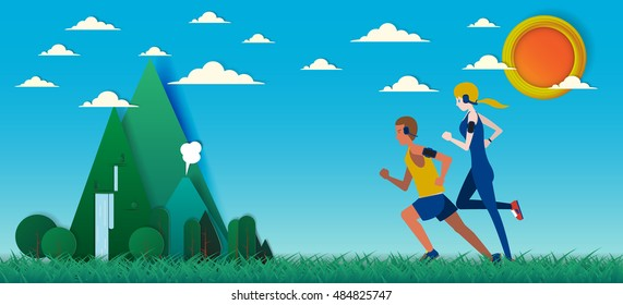 Couple Running in the field with beautiful background paper art style