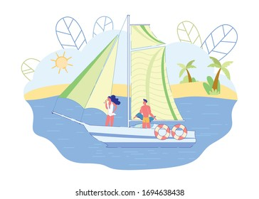 Couple Sailing and Drinking Champagne, Slide. Yacht is Sailing, Guy and Girl are Standing Deck. Man on Sailboat Looks at Woman who Drinks Champagne and Looks at Sea. Vector Illustration.