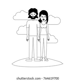 couple scene outdoor and both with t-shirt and pants and shoes and him with mid length hair and beard and her with collected hair and fringe in black dotted silhouette