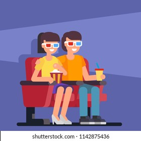 Couple seating in cinema. Flat design vector illustration.