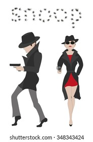 Couple of secret agents. Mysterious man and woman in black hats and coats takes aim with a pistol isolated on white background. Vector illustration eps