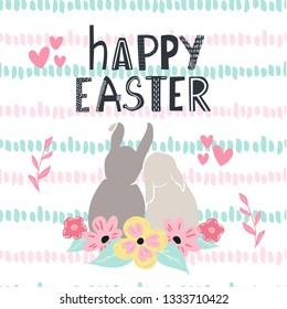 Couple of seet bunnies in love and Happy Easter typography. Cute Happy Easter greeting card