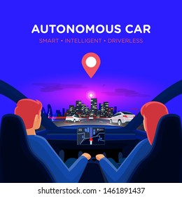 Couple in self-driving autonomous smart driverless electric car on highway to city. Man and woman inside car interior on road trip in traffic jam on autopilot. Dashboard display no hands on steering.
