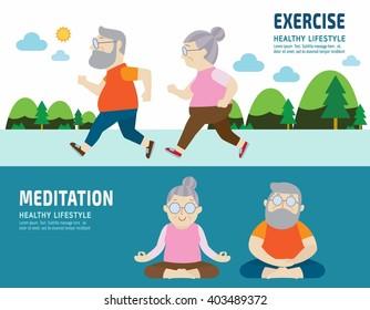 couple senior.activity lifestyle concept.flat cute cartoon design illustration.