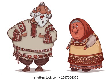Couple of seniors dressed in traditional Russian folk costumes. Funny cartoon characters. Vector illustration