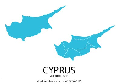 Couple Set Map - Blue Map of Cyprus.