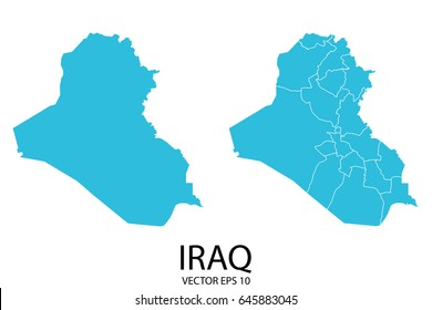 Couple set map - Blue Map of Iraq.