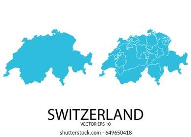 Couple Set Map - Blue Map of Switzerland.