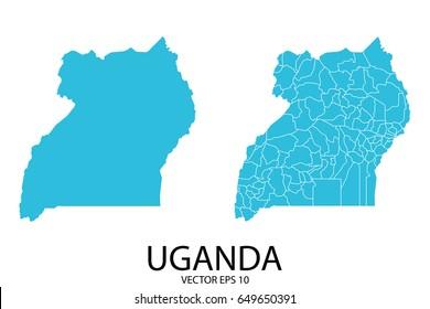 Couple Set Map - Blue Map of Uganda.