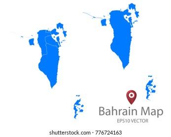 Couple Set Map,Blue Map of Bahrain,Vector EPS10