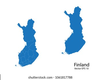 Couple Set Map,Blue Map of finland ,vecter illustration eps10.