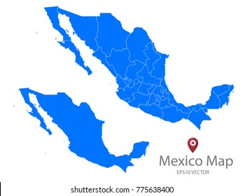 Couple Set Map,Blue Map of Mexico,Vector EPS10