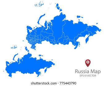 Couple Set Map,Blue Map of Russia,Vector EPS10