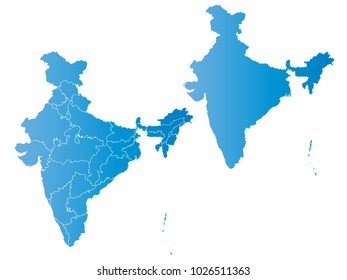 Couple Set Map,gradient blue Map of India,Vector EPS10