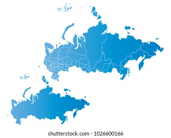 Couple Set Map,gradient blue Map of Russia,Vector EPS10