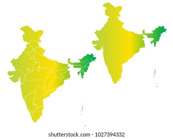 Couple Set Map,gradient Yellow and Green Map of India,Vector EPS10