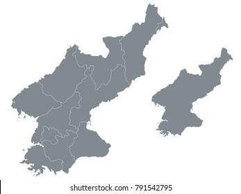 Couple Set Map,Gray Map of North Korea ,Vector EPS10