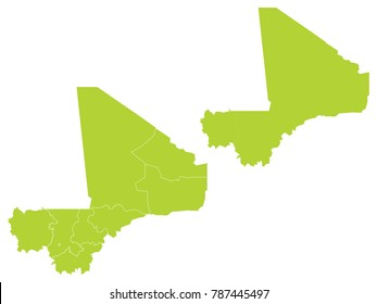 Couple Set Map,green Map of Mali,Vector EPS10