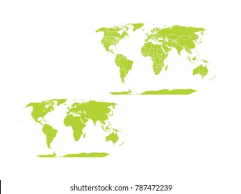 Couple Set Map,green Map of World with Countries,Vector EPS10