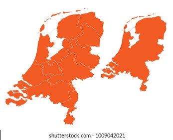 Couple Set Map,orange Map of Netherlands,Vector EPS10