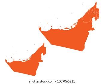 Couple Set Map,orange Map of United Arab Emirates,Vector EPS10
