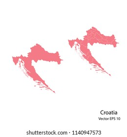 Couple set Map,pink map of croatia, vector illustration eps.10
